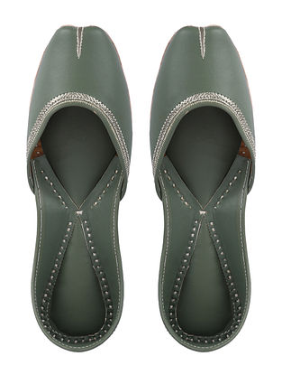 Green Handcrafted Leather Juttis