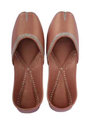 Rose Gold Handcrafted Leather Juttis