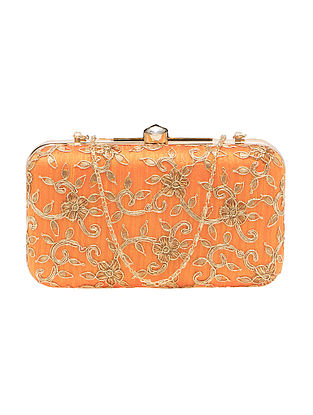 Orange Handcrafted Silk Clutch