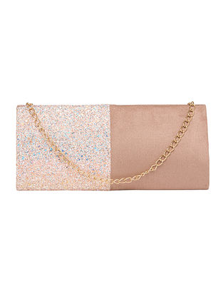 Peach Handcrafted Suede Clutch