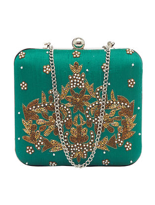 Green Handcrafted Silk Clutch