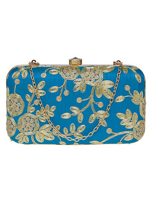 Blue Handcrafted Silk Clutch