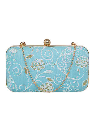 Blue Handcrafted Net Clutch
