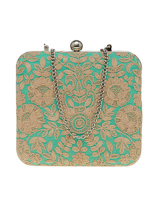 Green Handcrafted Polyester Clutch