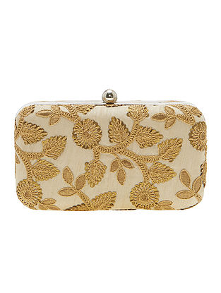 Beige Handcrafted Metal Clutch