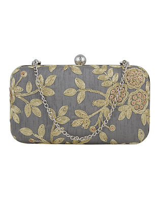 Grey Handcrafted Silk Clutch