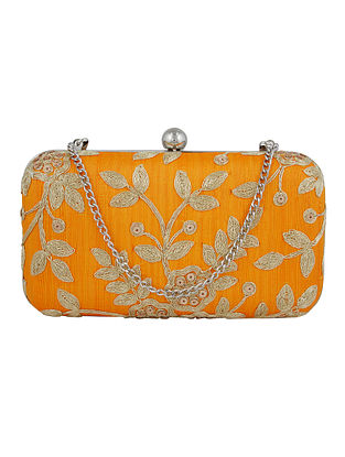 Yellow Handcrafted Silk Clutch