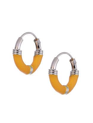Yellow Silver Hoop Earrings