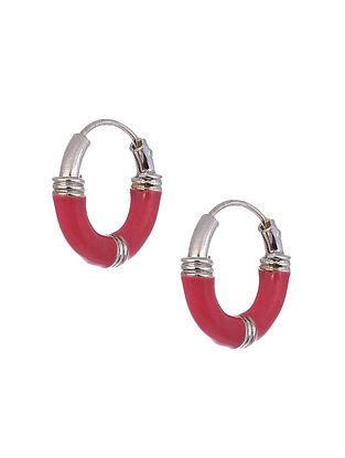 Pink Silver Hoop Earrings
