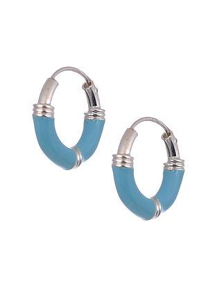 Blue Silver Hoop Earrings