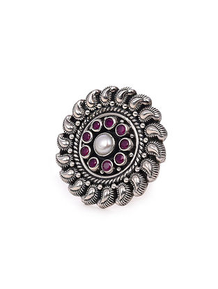 Maroon Tribal Silver Adjustable Ring