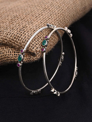 Green Tribal Silver Bangles (Set of 2)