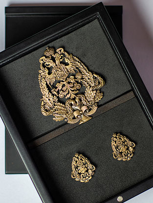 Gold Tone Handcrafted Brooch And Cufflinks Set