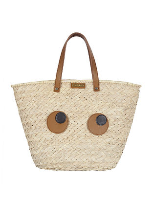 Beige Handwoven Palm Leaf Tote Bag