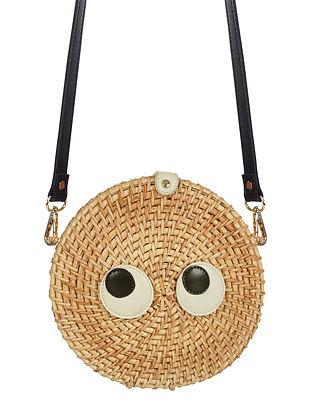 Beige Handwoven Bamboo Sling Bag
