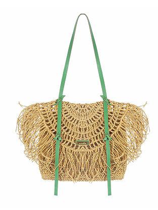 Beige Handwoven Raffia Tote Bag