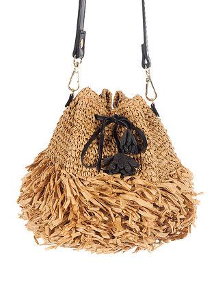 Beige Handwoven Raffia Sling Bag