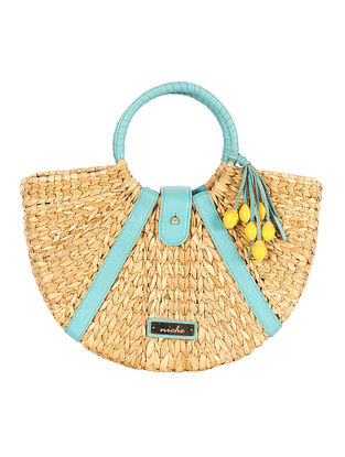 Beige Handwoven Sea Grass Tote Bag