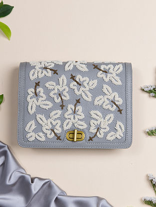 Grey Handcrafted Genuine Leather Clutch