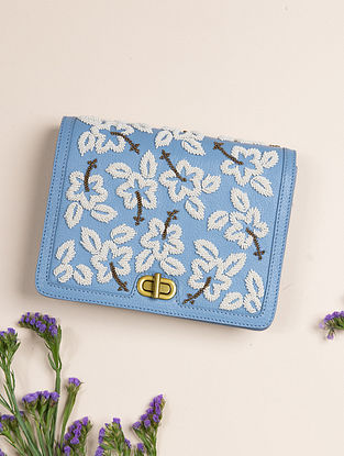 Blue Handcrafted Genuine Leather Clutch