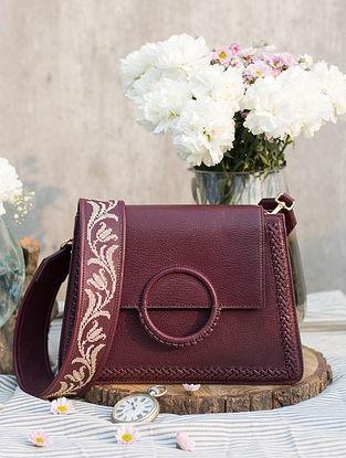 Maroon Handcrafted Genuine Leather Sling Bag