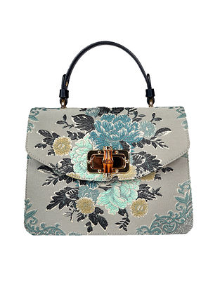 Blue Handcrafted Genuine Leather Hand Bag