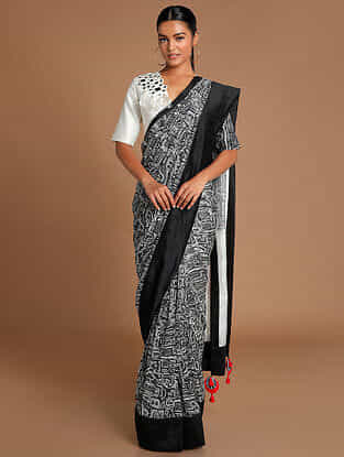 Black-White Printed Chanderi Saree