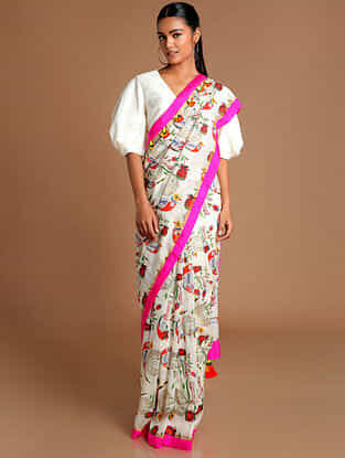 Ivory-Pink Printed Chanderi Saree