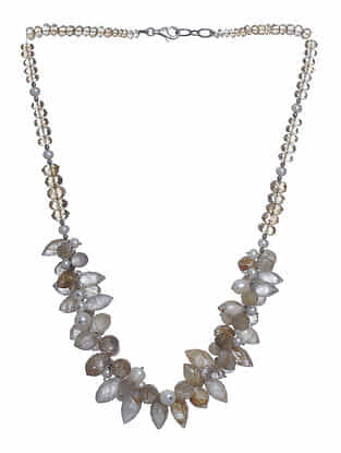 Golden Rutile, Citrine and Pearl Beaded Silver Necklace