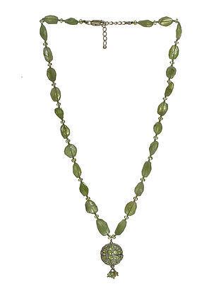 Peridot Beaded Silver Necklace