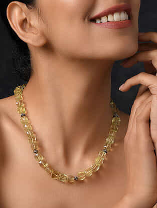 Lemon Quartz Beaded Silver Necklace