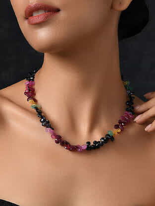 Ruby, Emerald and Sapphire Beaded Silver Necklace