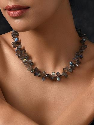 Labradorite Beaded Silver Necklace
