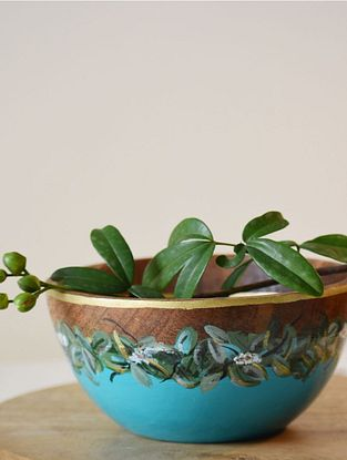 Mountain Moss Turquoise Handpainted Mango Wood Serving Bowl (Dia - 6in, H - 3in)