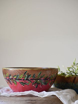 Wreath Red and Pink Handpainted Mango Wood Serving Bowl (Dia - 6in, H - 3in)