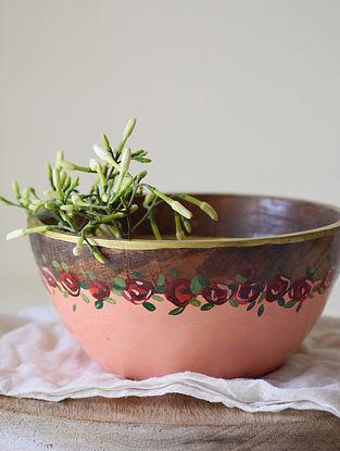 Wreath Peach Handpainted Mango Wood Serving Bowl (Dia - 6in, H - 3in)