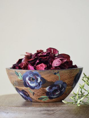 Petal Purple Handpainted Mango Wood Serving Bowl (Dia - 6in, H - 3in)