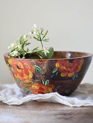 Petal Orange Handpainted Mango Wood Serving Bowl (Dia - 6in, H - 3in)