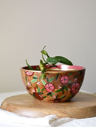 Raw Earth Red Handpainted Mango Wood Serving Bowl (Dia - 6in, H - 3in)
