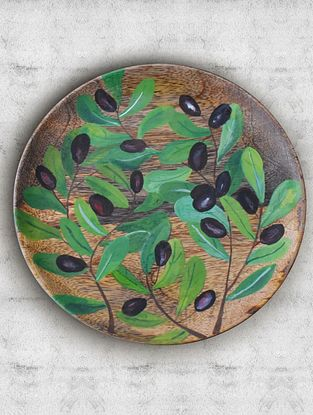 Summer Olive Handpainted Mango Wood Wall Plate (Dia - 7.5in, Th - 1in)