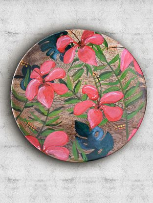 Tropical Hibiscus Pink Handpainted Mango Wood Wall Plate (Dia - 7.5in, Th - 1in)
