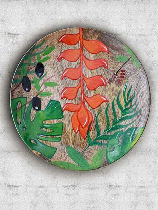 Bora Bora Orange Handpainted Mango Wood Wall Plate (Dia - 7.5in, Th - 1in)
