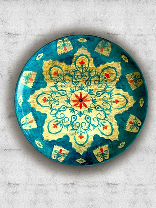 Mountain Turquoise Hand Painted Mango Wood Wall Plate (Dia - 7.5in, Th - 1in)