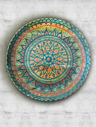 Bay Turquoise Handpainted Mango Wood Wall Plate (Dia - 10in, Th - 1in)