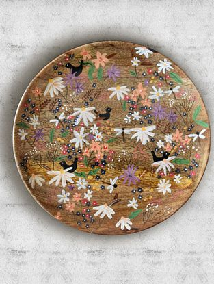 May Flower White Handpainted Mango Wood Wall Plate (Dia - 10in, Th - 1in)