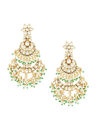 Green Gold Plated Polki Silver Earrings with Pearls