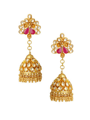 Red Gold Plated Silver Jhumki Earrings