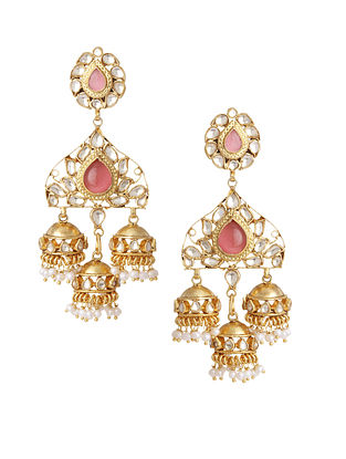 Pink Gold Plated Bellore Polki Silver Jhumki Earrings with Pearls