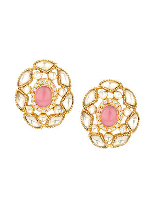 Pink Gold Plated Bellore Polki Silver Earrings