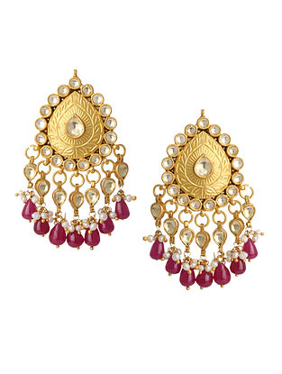 Maroon Gold Plated Silver Earrings with Pearls